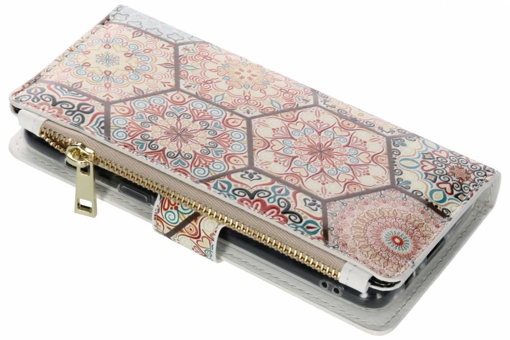 Hippie design luxe portemonnee hoes voor de Samsung Galaxy A8 (2018)