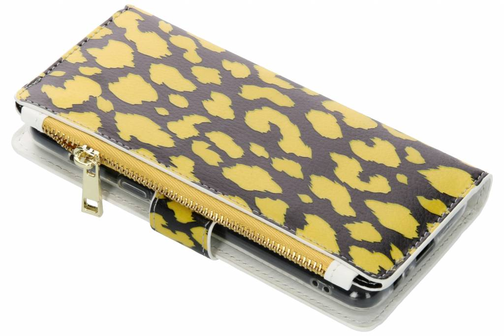 Panter geel design luxe portemonnee hoes voor de Samsung Galaxy A8 (2018)