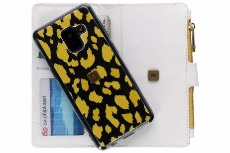 Design Luxe Portemonnee voor Samsung Galaxy A8 (2018) - Panter Geel