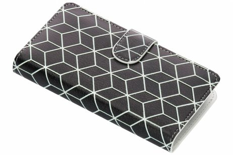 Design Luxe Portemonnee voor Samsung Galaxy A8 (2018) - Cubes Black