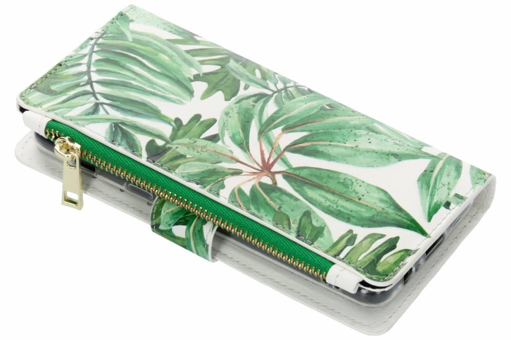 Bladeren design luxe portemonnee hoes voor de Samsung Galaxy A8 (2018)