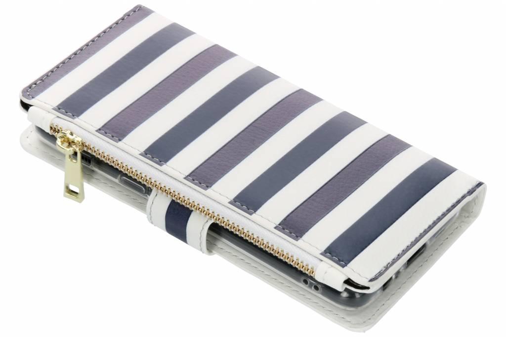 Design Luxe Portemonnee voor Samsung Galaxy A8 (2018) - Stripes Blue