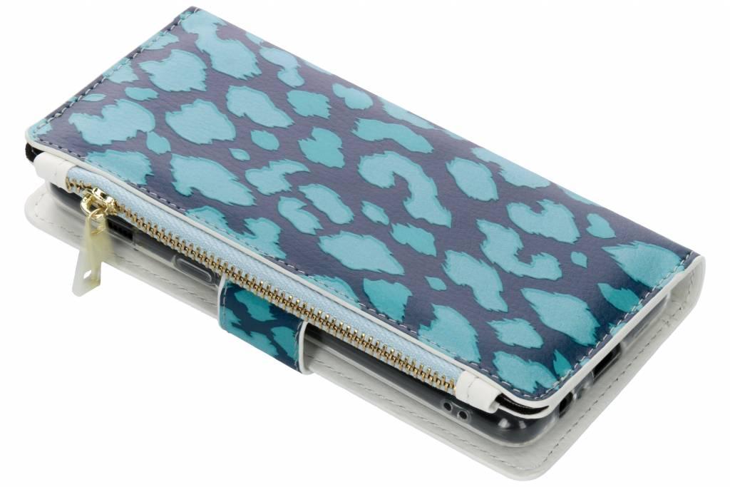Panter donkerblauw design luxe portemonnee hoes voor de Samsung Galaxy A8 (2018)