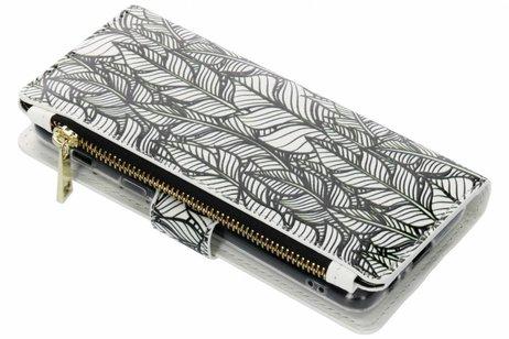 Design Luxe Portemonnee voor Samsung Galaxy A8 (2018) - Botanic Feathers