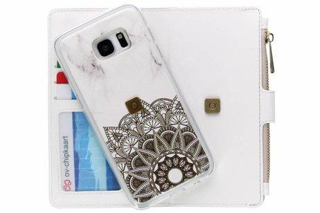 Design Luxe Portemonnee voor Samsung Galaxy S7 Edge - Marmer Mandala