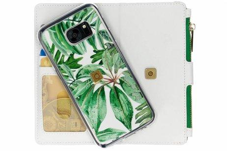 Design Luxe Portemonnee voor Samsung Galaxy S7 Edge - Bladeren Groen