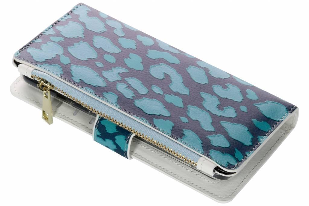 Design Luxe Portemonnee voor Samsung Galaxy S9 - Panter Donkerblauw