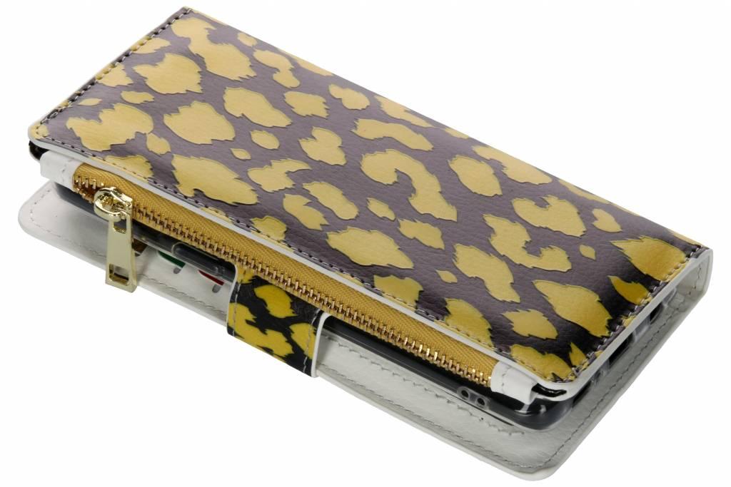 Panter geel design luxe portemonnee hoes voor de Samsung Galaxy S9