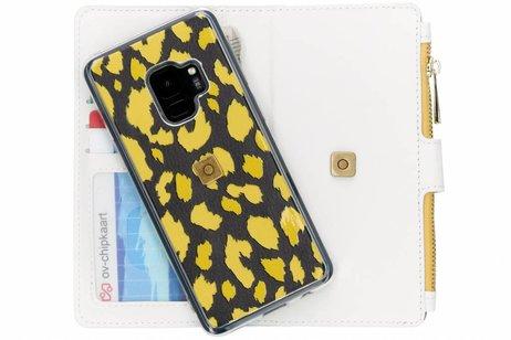 Design Luxe Portemonnee voor Samsung Galaxy S9 - Panter Geel