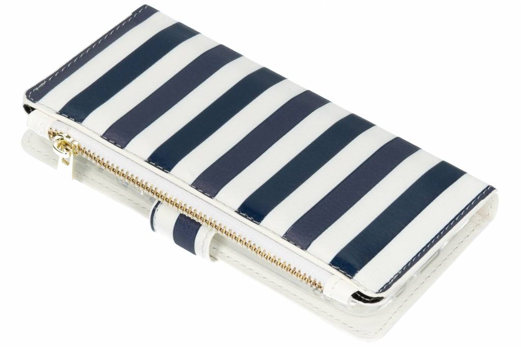Design Luxe Portemonnee voor Samsung Galaxy A6 (2018) - Stripes Blue