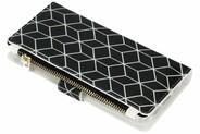 Design Luxe Portemonnee voor Samsung Galaxy A6 (2018) - Cubes Black