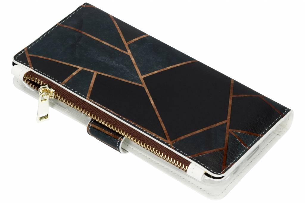 Design Luxe Portemonnee voor Samsung Galaxy A6 (2018) - Grafisch Zwart / Koper