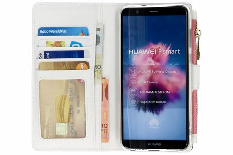 Design Luxe Portemonnee voor Huawei P Smart - Bladeren