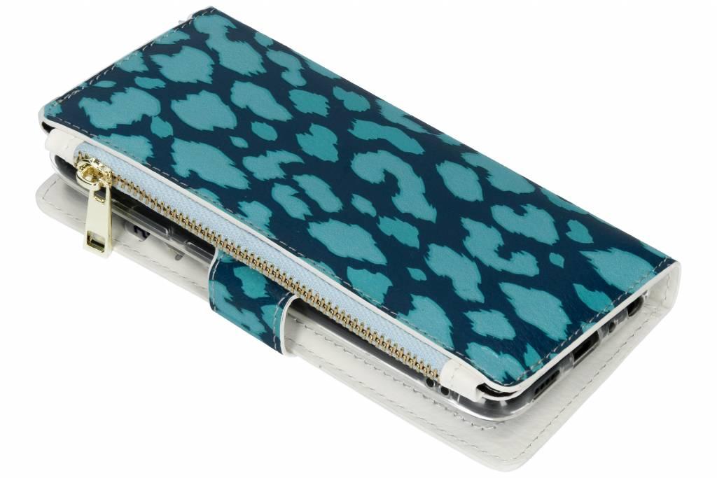 Panter donkerblauw design luxe portemonnee hoes voor de Huawei P Smart