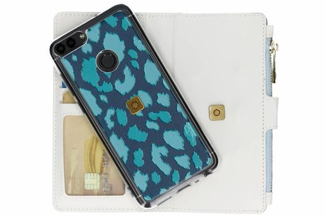 Design Luxe Portemonnee voor Huawei P Smart - Panter Donkerblauw