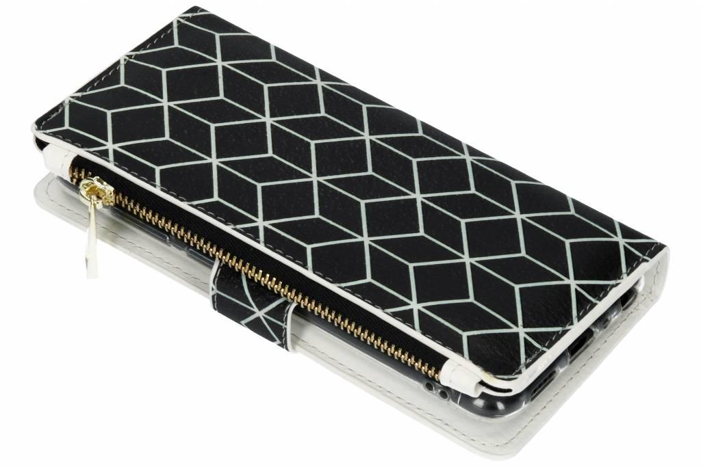 Cubes Black design luxe portemonnee hoes voor de Huawei P Smart