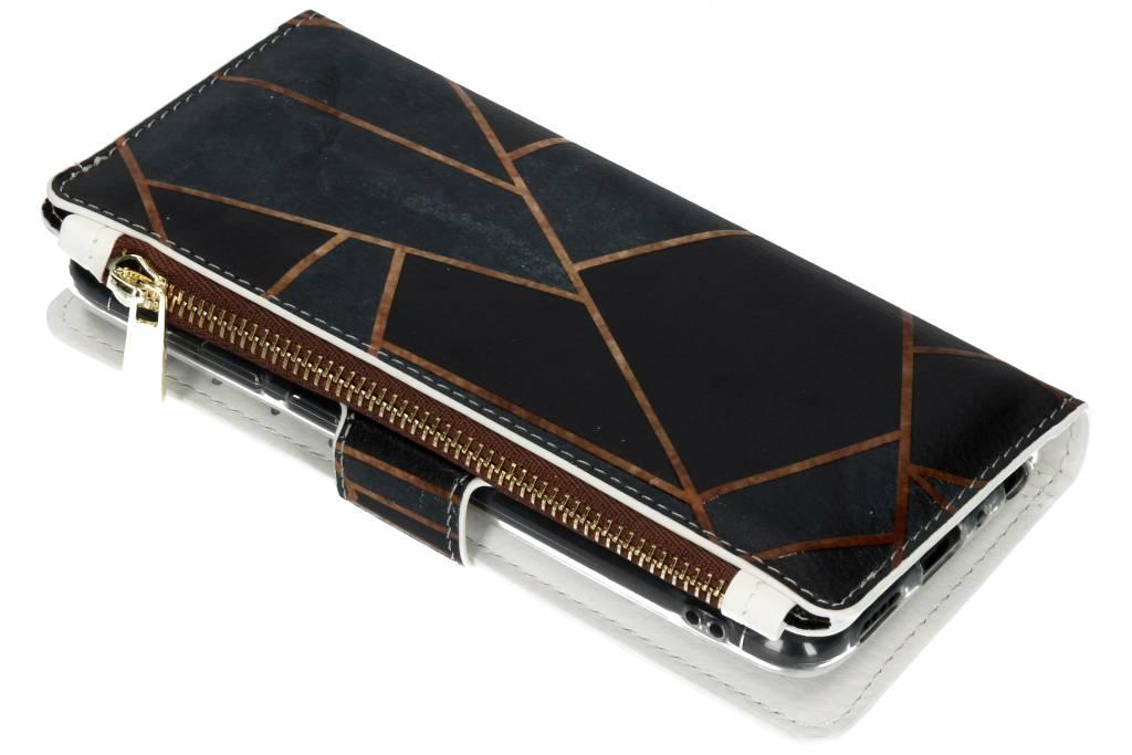 Design Luxe Portemonnee voor Huawei P Smart - Grafisch Zwart / Koper
