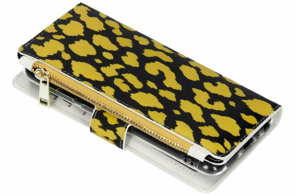 Panter geel design luxe portemonnee hoes voor de Huawei P Smart