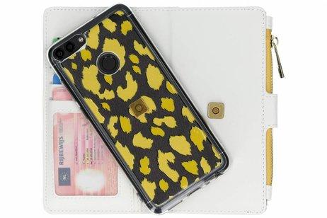 Design Luxe Portemonnee voor Huawei P Smart - Panter Geel