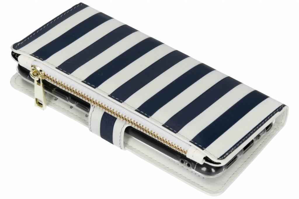 Stripes Blue design luxe portemonnee hoes voor de Huawei P Smart