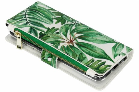 Design Luxe Portemonnee voor Huawei P Smart - Bladeren Groen