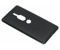 Zwart Carbon siliconen hoesje Sony Xperia XZ2 Premium