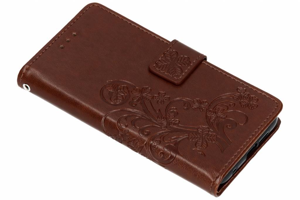 Klavertje Bloemen Booktype voor Nokia 6.1 Plus - Bruin