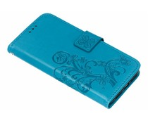 Turquoise klavertje bloemen booktype hoes iPhone Xr
