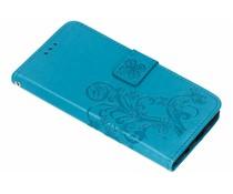 Turquoise klavertje bloemen booktype hoes Huawei Nova 3
