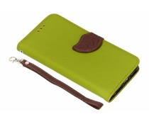 Groen blad design TPU booktype hoes iPhone Xr