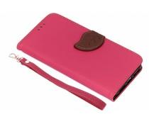 Fuchsia blad design TPU booktype hoes iPhone Xr