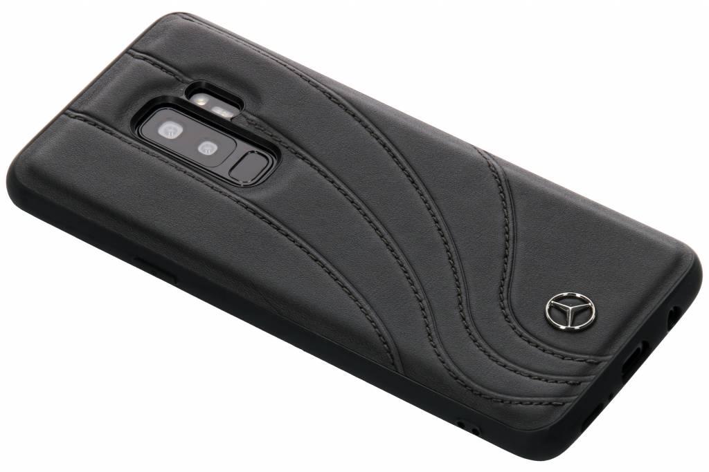 Zwarte Real Leather Hard Case voor de Samsung Galaxy S9 Plus