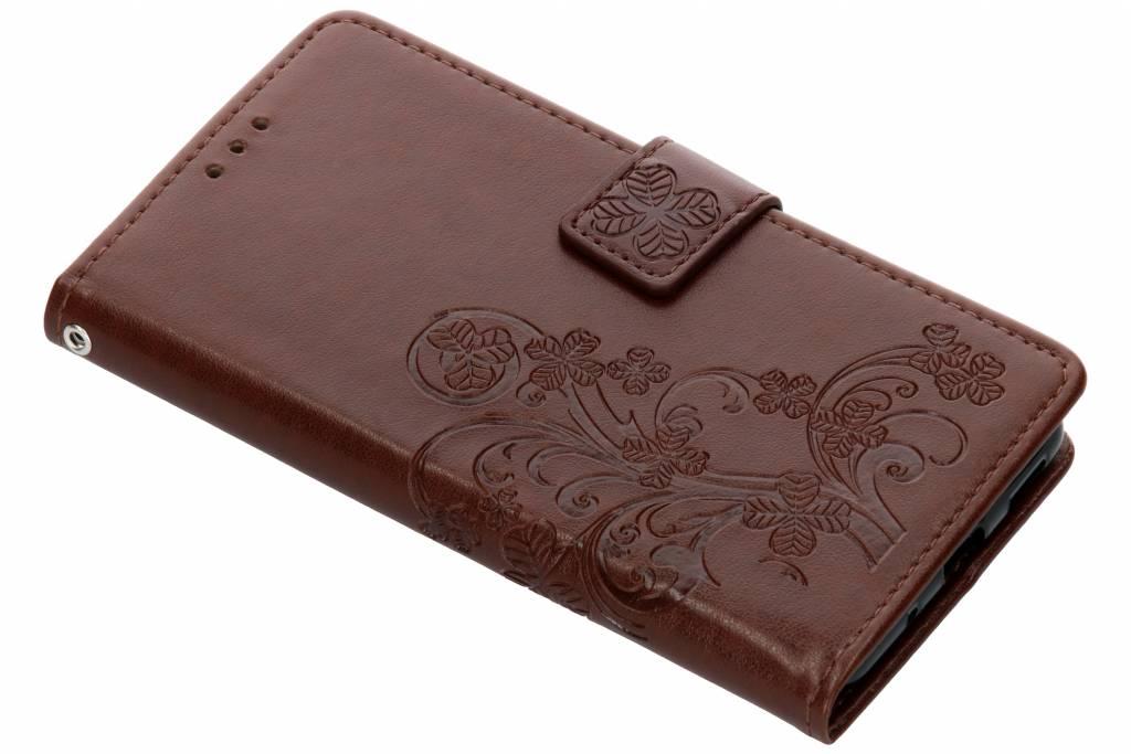Klavertje Bloemen Booktype voor Nokia 5.1 - Bruin