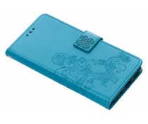 Turquoise klavertje bloemen booktype hoes Nokia 5.1