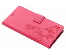 Fuchsia klavertje bloemen booktype hoes Nokia 5.1