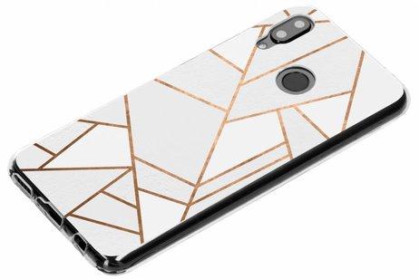 Design Backcover voor Huawei Nova 3 - Grafisch Wit / Koper