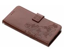 Bruin klavertje bloemen booktype hoes Sony Xperia XA2 Plus