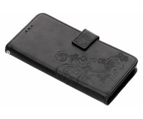 Zwart klavertje bloemen booktype hoes Sony Xperia XA2 Plus