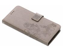 Grijs klavertje bloemen booktype hoes Sony Xperia XA2 Plus