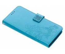 Turquoise klavertje bloemen booktype hoes Xperia XA2 Plus