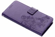 Klavertje Bloemen Booktype voor Sony Xperia XA2 Plus - Paars