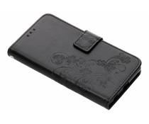 Zwart klavertje bloemen booktype hoes Sony Xperia Z5