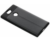 Zwart lederen siliconen case Sony Xperia XA2 Plus