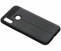 Zwart lederen siliconen case Huawei P Smart Plus