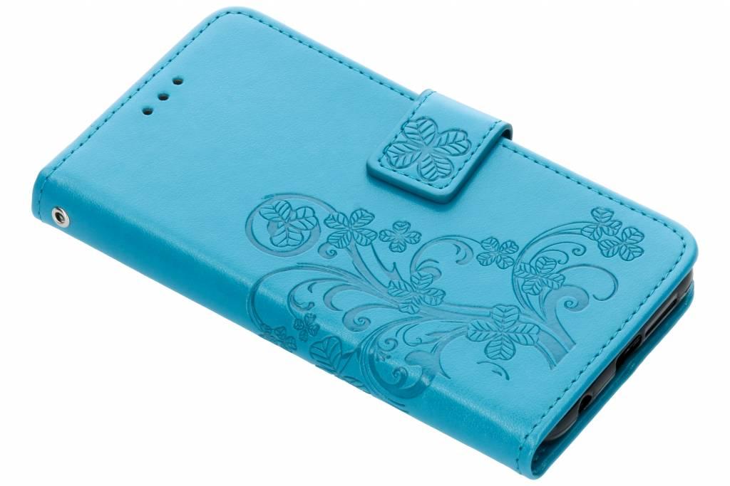 Turquoise klavertje bloemen booktype hoes voor de Honor 9