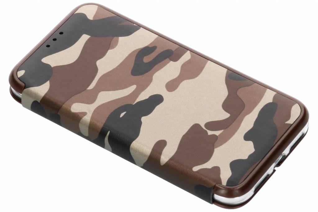 Bruine Army Slim Folio Case voor de iPhone Xr