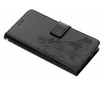 Zwart klavertje bloemen booktype hoes Nokia 5.1