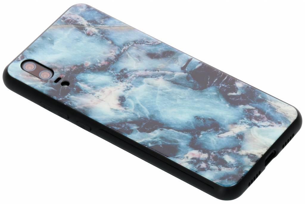 Blauw marmer design glazen hardcase voor de Huawei P20