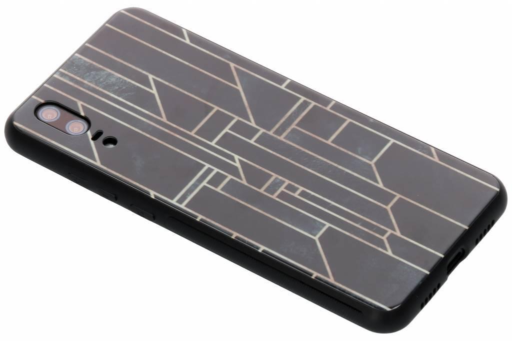 Grafische lijnen design glazen hardcase voor de Huawei P20
