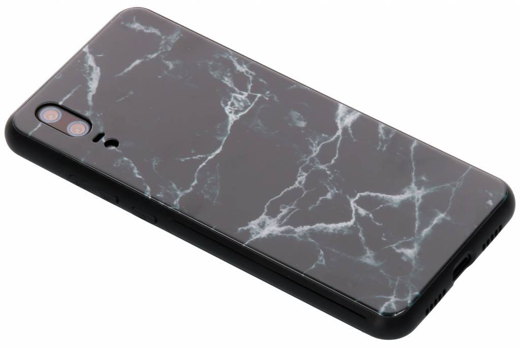 Zwart marmer design glazen hardcase voor de Huawei P20
